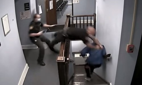 Top 9 Surveillance Videos of the Week: Guard Dives Down Stairs to Catch Court-Fleeing Suspect