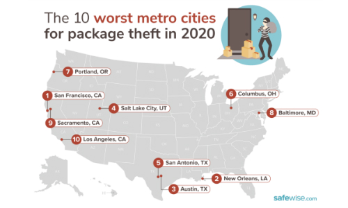 Top 10 Cities Where Porch Pirates Most Often Strike