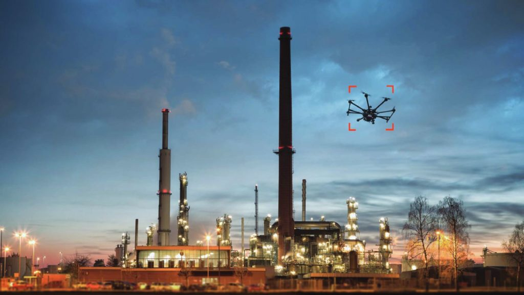 unauthorized drone in industrial airspace